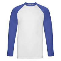 Стильная мужская белая футболка с длинными ярко-синими рукавами - S, L, XL, 3XL, фото 1