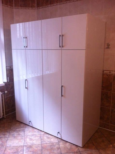 Белый глянцевый шкаф под сейф 40