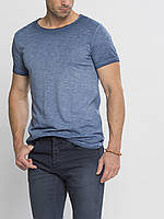 Синяя мужская футболка LC Waikiki / ЛС Вайкики со стилизованными потертостями
