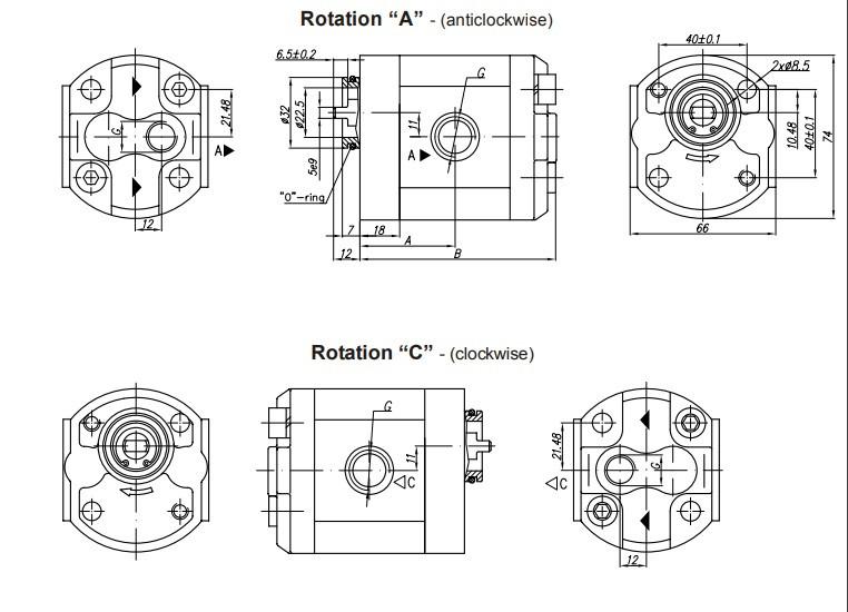 Шестеренчатый (шестерной) гидравлический насос Hidros 10AХ400 (серия 10)