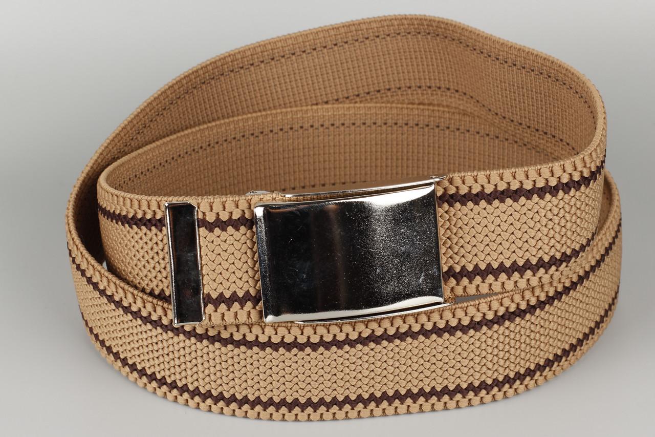 Ремень джинсовый резинка с открывалкой для бутылок на пряжке 40 мм бежевый в полоску