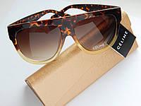 Женские солнцезащитные очки Celine леопардовые - чехол и салфетка в подарок, фото 1