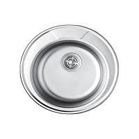 Врезная кухонная мойка из нержавеющей стали PLATINUM 490 Сатин 0.6 мм.