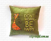 """Подушка с котом """"Don""""t worry, be happy"""", фото 1"""