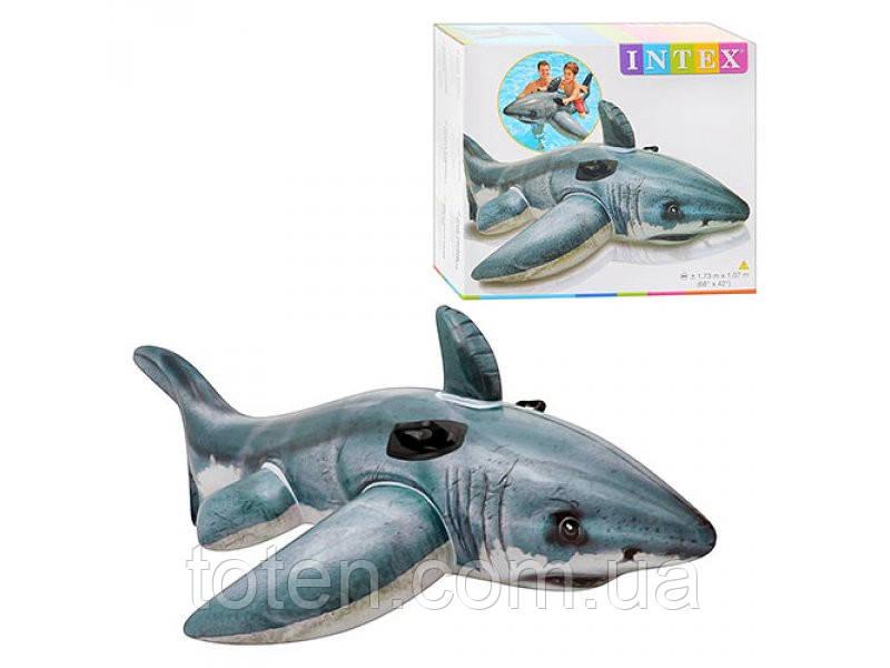 Пліт надувний 57525 Акула, 173-107 см, ручки 2 шт, Intex ремонтний комплект