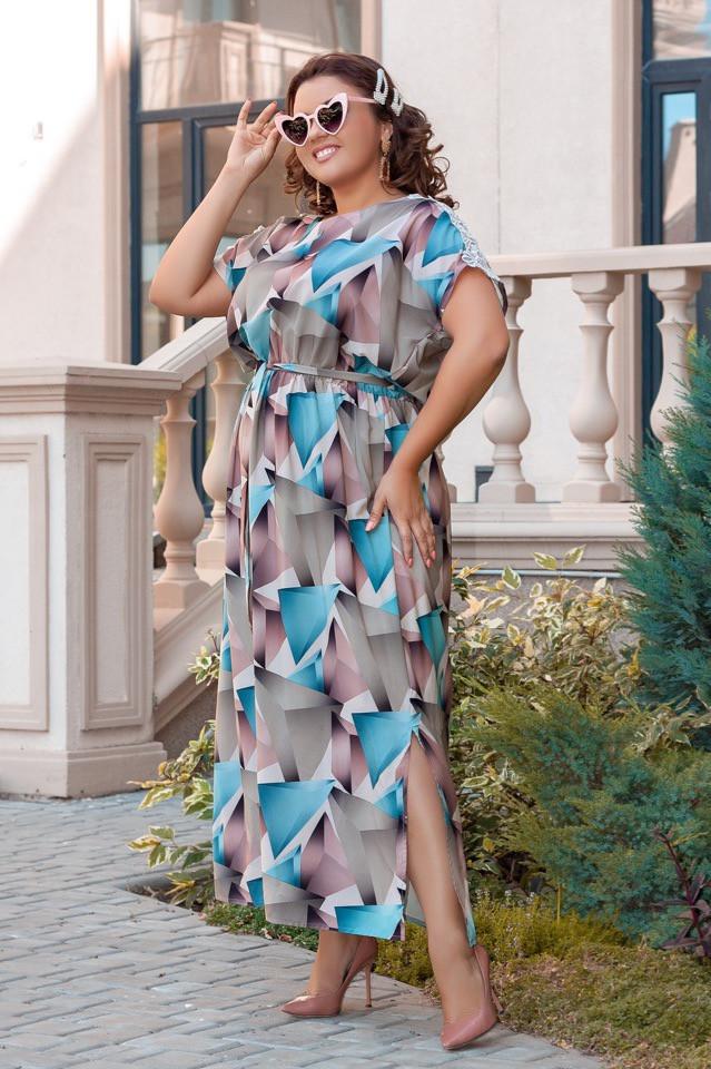 Летнее женское платье большого размера 52,54,56,58