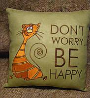 """Подушка з котом """"Don""""t worry, be happy"""", фото 3"""