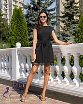 Черное короткое платье с кружевом А-силуэт, фото 3