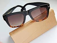 Женские солнцезащитные очки Celine темно-коричневые с леопардовым - чехол и салфетка в подарок, фото 1