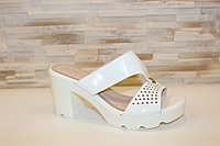 Шлепанцы женские белые на каблуке Б278