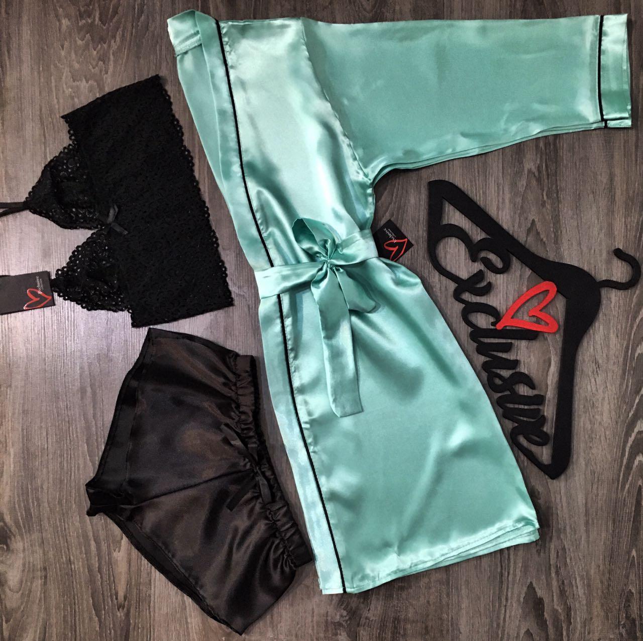 Халат с кантом+пижама(топ и шорты)-комплект домашней одежды.