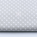 Лоскут ткани с маленькими сердечками 6 мм в шахматном порядке на сером фоне №1859а, фото 2