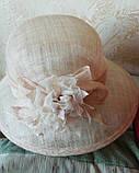 Шляпа  с полями 10 см из натуральной соломки синамей размер  55- 59 см, фото 6
