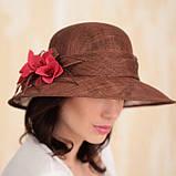 Шляпа  с полями 10 см из натуральной соломки синамей размер  55- 59 см, фото 3