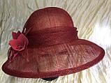 Шляпа  с полями 10 см из натуральной соломки синамей размер  55- 59 см, фото 9