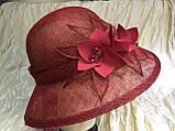 Шляпа  с полями 10 см из натуральной соломки синамей размер  55- 59 см, фото 5