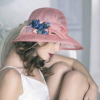 Шляпа с большими полями 10 см из натуральной соломки синомей