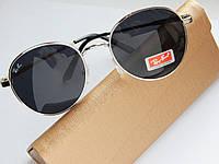 Солнцезащитные очки Ray Ban round черные в серебристой оправе - поляризация, фото 1