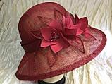Шляпа с большими полями 10 см из натуральной соломки синомей, фото 3