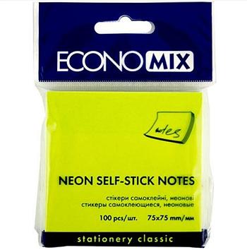 Блок стикеров для заметок Economix 75x75 мм, 100 л., салатовый неоновый