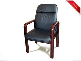 Кресло для конференций Ливорно комбинированная кожа люкс Черная (Диал ТМ)