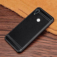 Чехол Litchi для Honor 8A силикон бампер с рифленой текстурой черный
