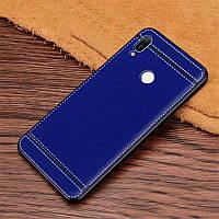 Чехол Litchi для Honor 8A силикон бампер с рифленой текстурой синий