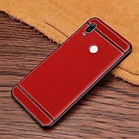 Чехол Litchi для Honor 8A силикон бампер с рифленой текстурой красный