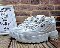 ✅ Женские кожаные кроссовки Fila Disruptor 2 White Фила Дисраптор белые кроссовки на платформе 40