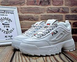 ✅ Женские кожаные кроссовки Fila Disruptor 2 II White Фила Дисраптор белые кроссовки на платформе