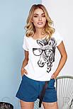 Женская футболка с зеброй белая, фото 2