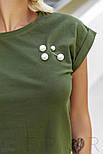 Женская футболка с брошью цвета хаки, фото 4