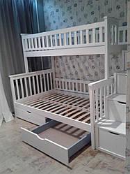 Детская кровать 3-местная с комодом-ступенями