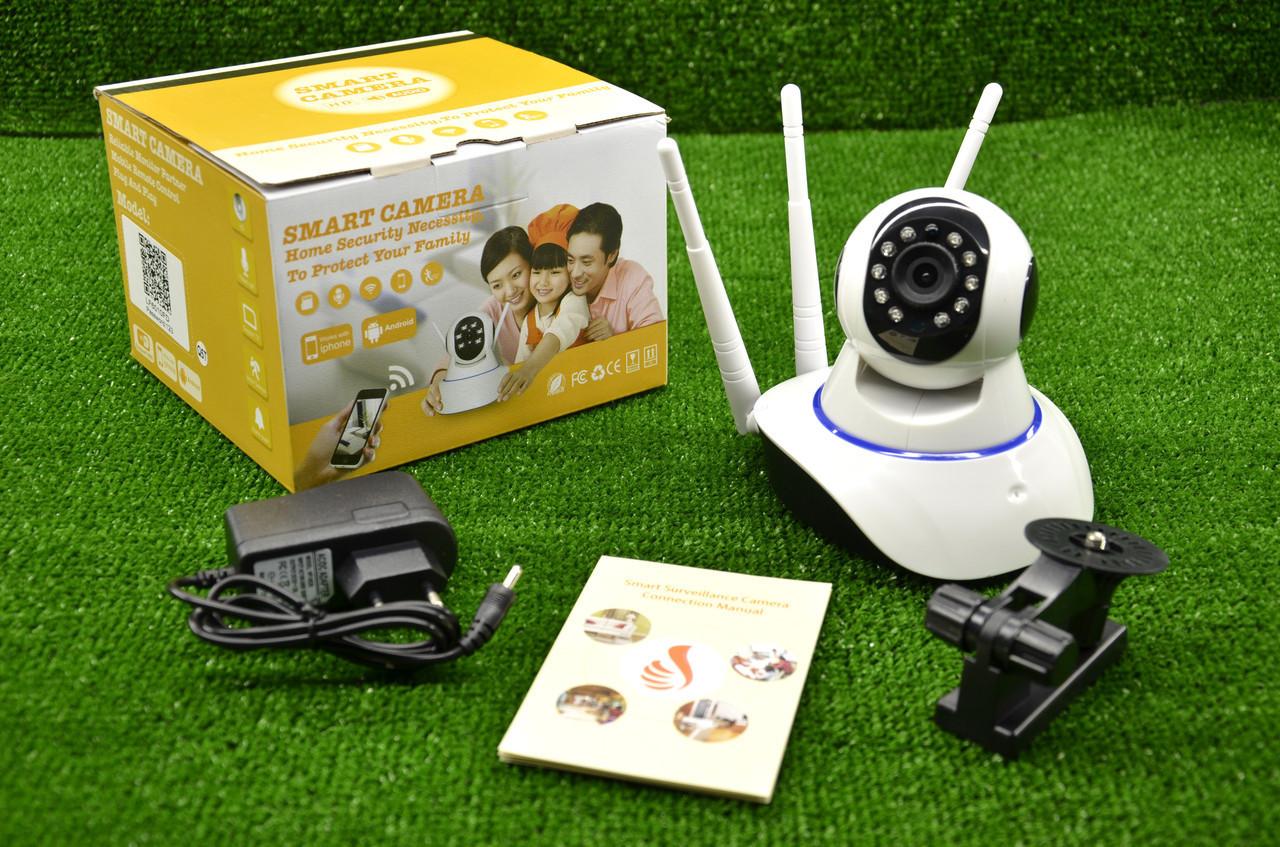 Поворотная Wi Fi IP-камера 3 антенны видеонаблюдения,ночная съемка,видеоняня