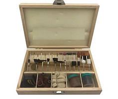 Набор аксессуаров для мини дрелей и граверов (100 предметов) в деревянном оргонайзере