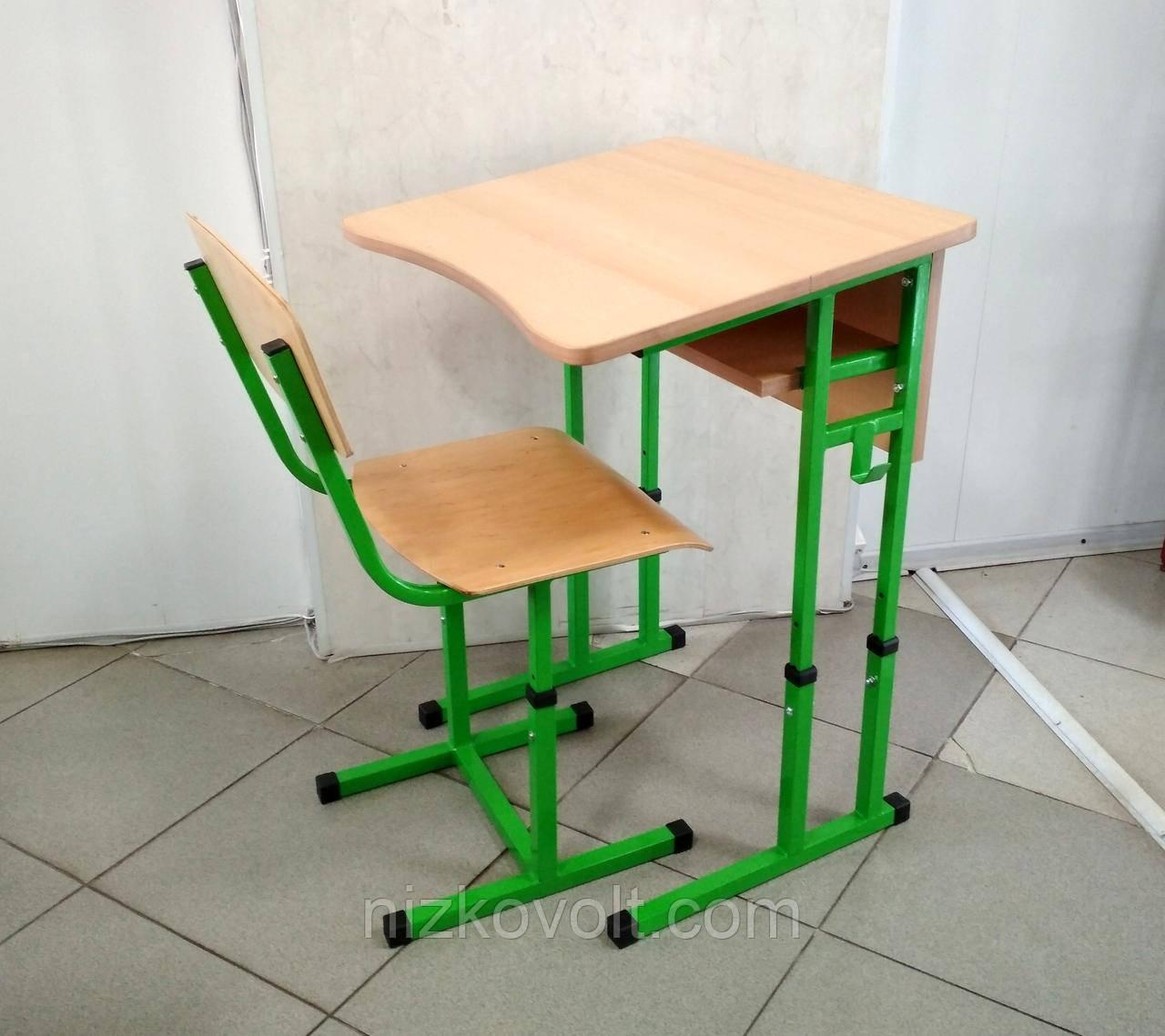 Комплект (парта одноместная + стул) школьной мебели регулируемый на р.г. №4-6