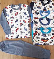 """Пижама детская для мальчика 5-8 лет """"Машинки"""", серого цвета"""