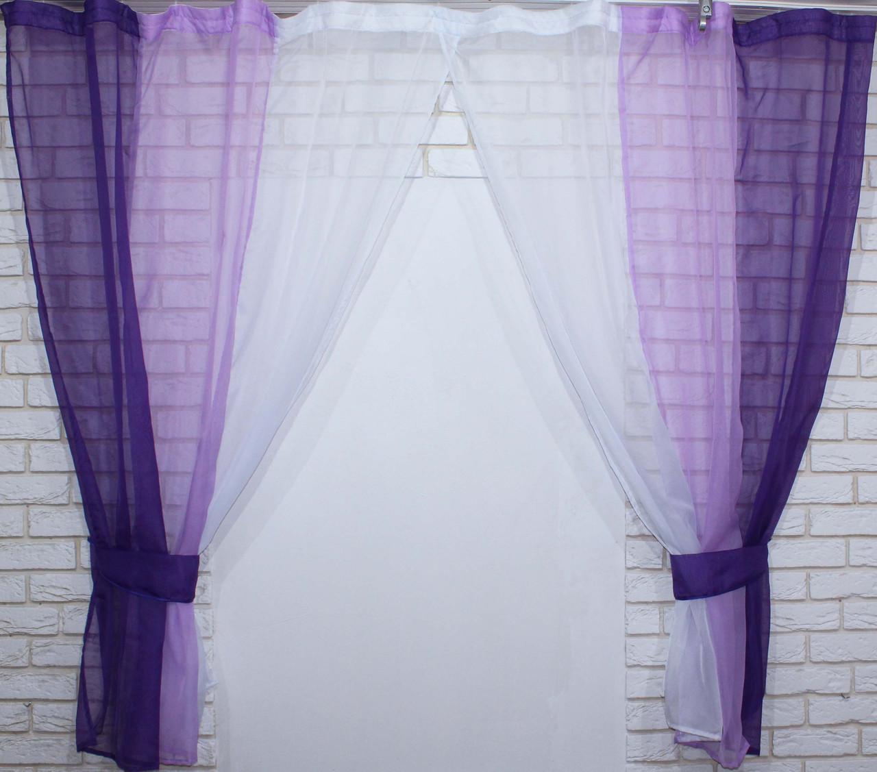 Комплект кухонные шторки с подвязками №54 Цвет фиолетовый с сиреневым
