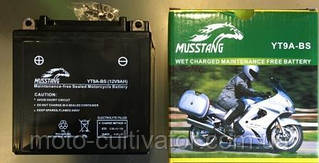 Аккамулятор 12V 9A-BS   МОТО МТ ИЖ черный пастовый 139x75x135  MUSSTANG