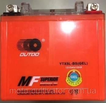 Аккамулятор  YTX5L-BS 12V5A OUTDO  (GEL) оранж (110x105x67)