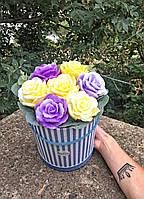 Букет з мильних квітів В коробці Ручна робота 600 г (000143)