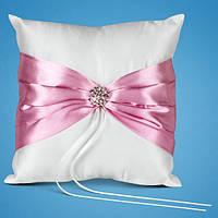 Подушечка для обручальных колец с розовой лентой