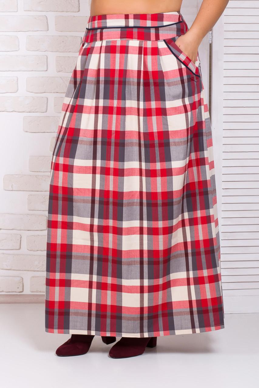 Красная юбка в клетку в пол с карманами 44-52 р
