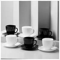 Чайный сервиз 12 предметов Luminarc Carine B&W 220 мл  (Франция), набор чашек с блюдцами