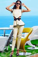 Женский элегантный летний костюм с боковыми прорезями сзади застежка молния коттон мемори