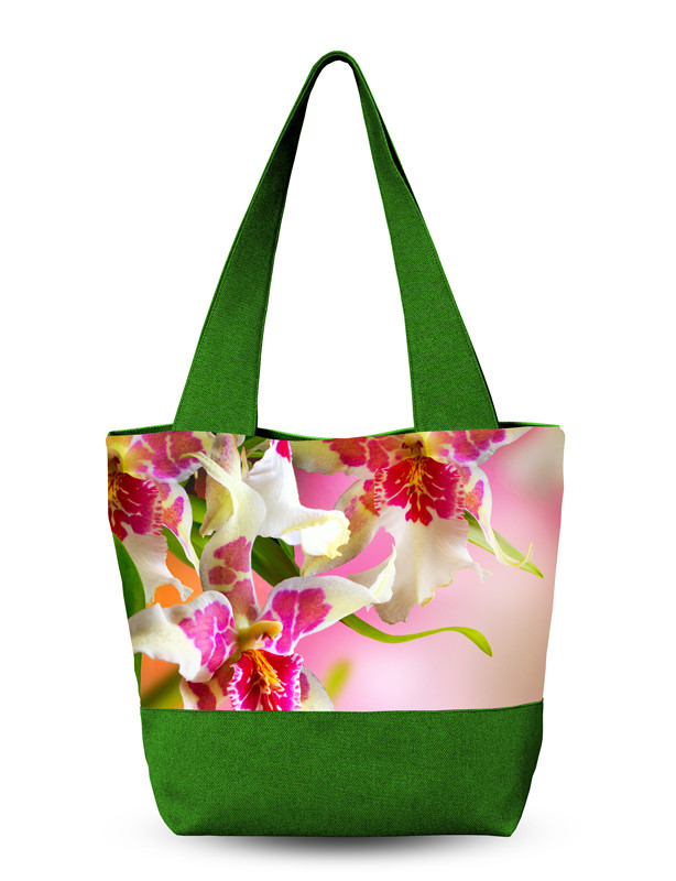 Женская сумка 3D Экзотический цветок Зеленая