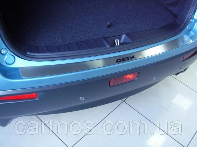 Накладка на задний бампер Mitsubishi asx (митсубиси асх), логотип, без загиба. нерж.