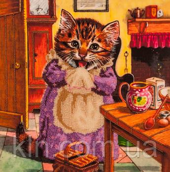 Набор для вышивания бисером FLF-048 Кошка поварюшка 30*30 Волшебная страна качественный