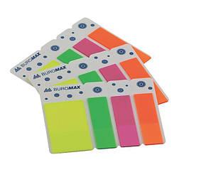 Стикеры-закладки Buromax Neon пластиковые с клейким слоем, 45x25мм+45x12мм, 120шт