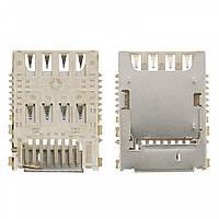 Коннектор SIM-карты Samsung G355/G360/G361/G530/G531/G900/J100/J200/i9300i/N7520/T365 + MMC Original